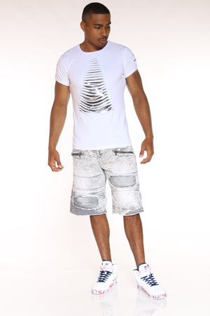 Men's Slashes Shiny Tee - White