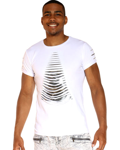 Men's Slashes Shiny Tee - White-VIM.COM