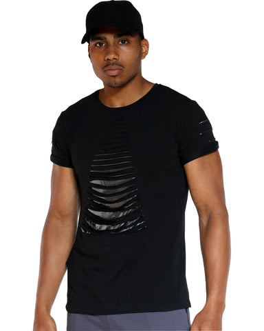 Men's Slashes Shiny Tee - Black-VIM.COM
