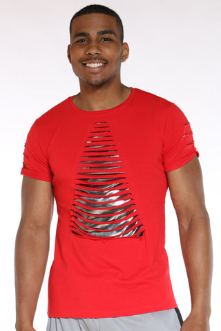 Men's Slashes Shiny Tee - Red-VIM.COM