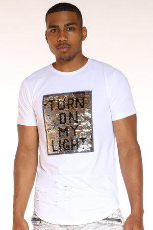 Men's Turn On My Lights Flip Sequins Tee - White-VIM.COM
