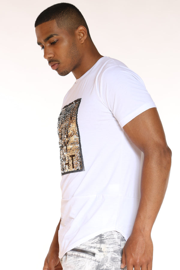 Men's Turn On My Lights Flip Sequins Tee - White