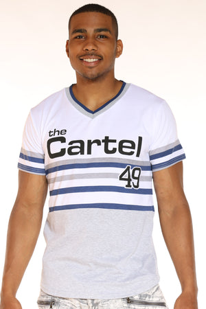Men's The Cartel 49 Stripes Tee - White-VIM.COM