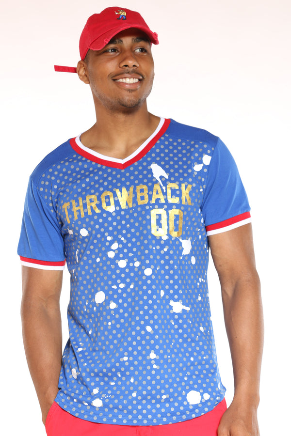 Men's Throwback 00 Dots Tee - Blue-VIM.COM