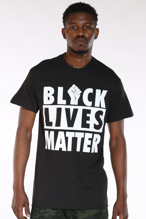 Men's Black Lives Matter Fist Tee - Black-VIM.COM