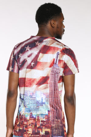 Men's American Flag City Tee - Red Blue