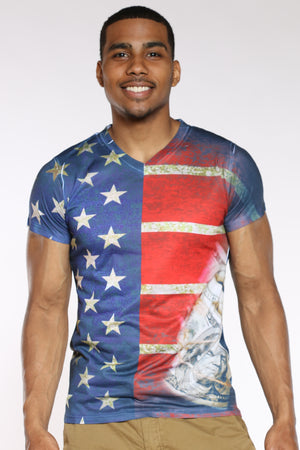 Men's American Flag Money Tee - Red Blue-VIM.COM