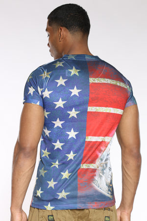 Men's American Flag Money Tee - Red Blue