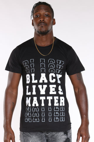 Men's Black Lives Matter Repeat Tee - Black-VIM.COM