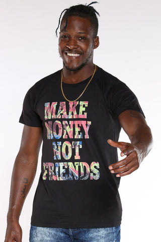 Men's Make Money Not Friends Hustle Tee - Black-VIM.COM