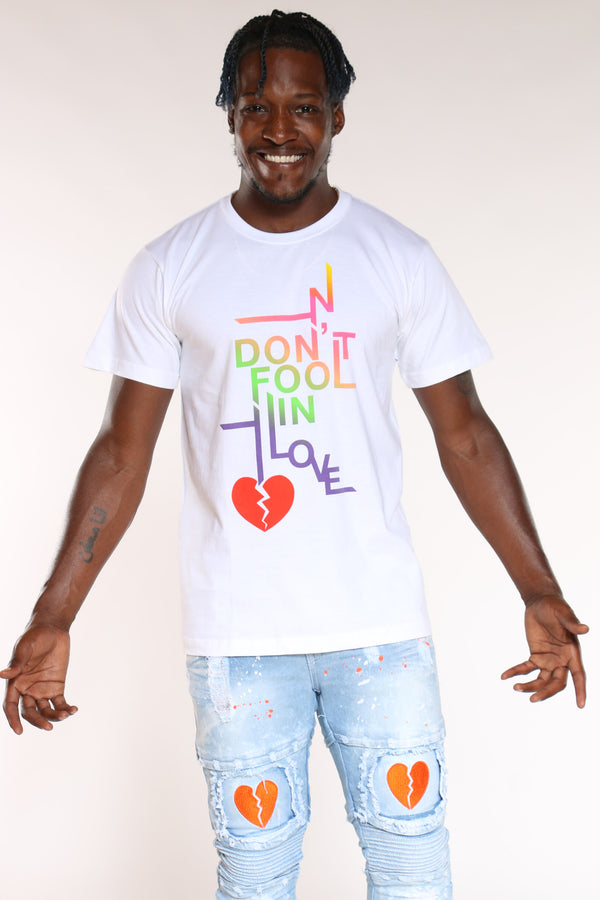 Men's Don't Fool In Love Broken Heart Tee - White-VIM.COM