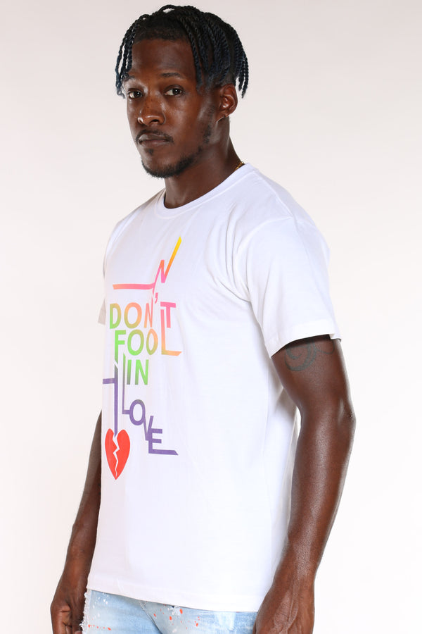 Men's Don't Fool In Love Broken Heart Tee - White