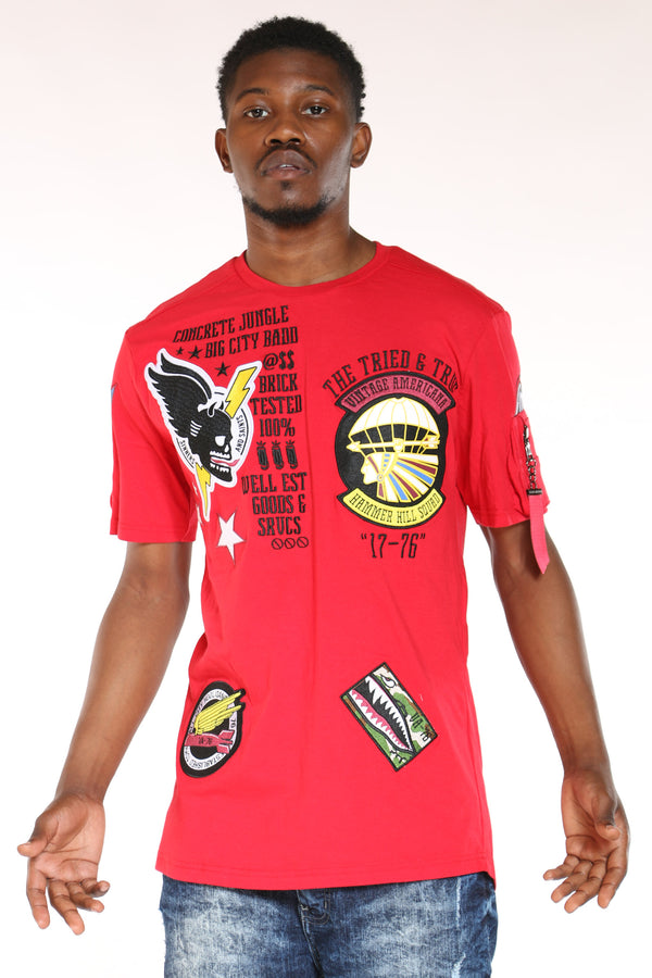 Men's Patches Tee - Red-VIM.COM