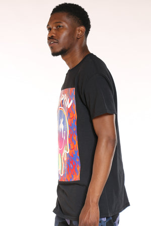 Men's Trippin Smiley Face Drip Tee - Black