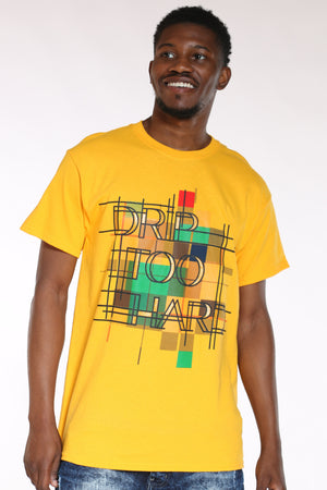 Men's Drip Too Hard Pattern Tee - Gold-VIM.COM