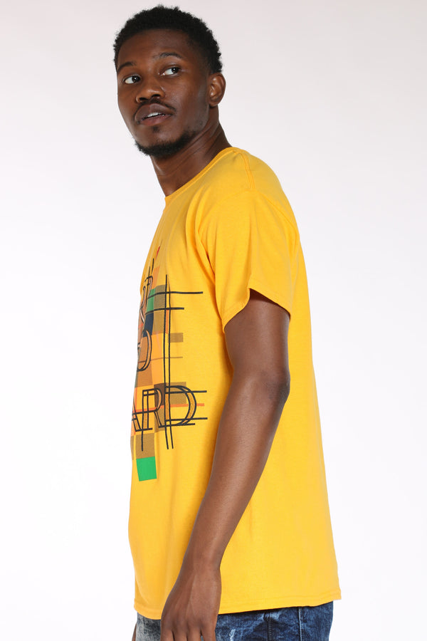 Men's Drip Too Hard Pattern Tee - Gold
