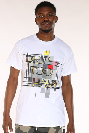 Men's Drip Too Hard Pattern Tee - White-VIM.COM
