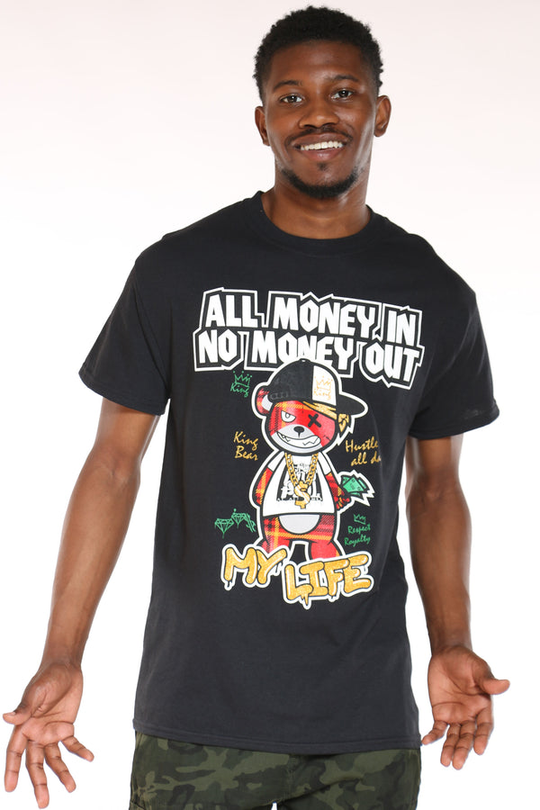 Men's All Money In Bear Tee - Black-VIM.COM