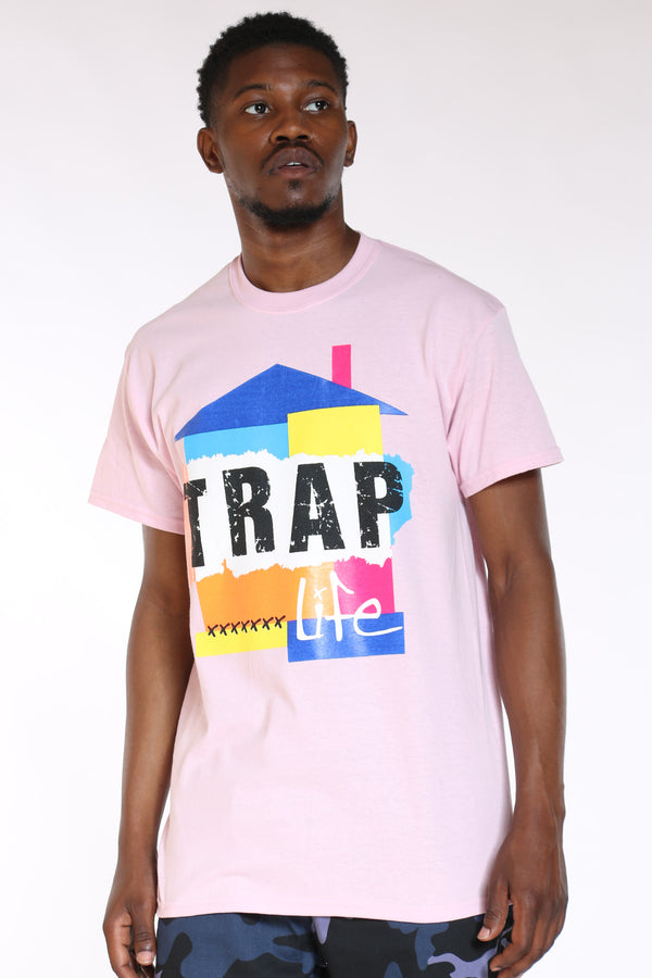 Men's Trap House Life Colorful Tee - Pink-VIM.COM