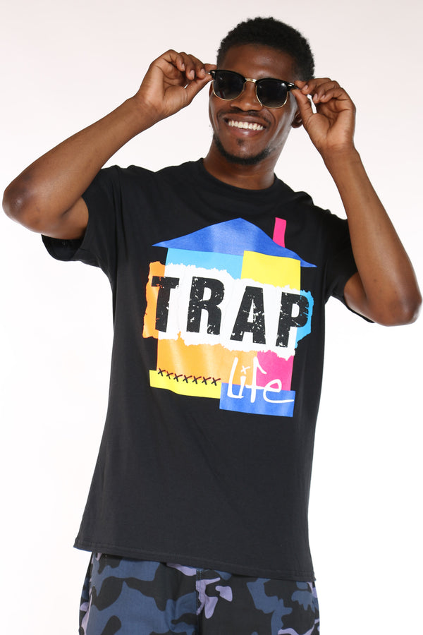 Men's Trap House Life Colorful Tee - Black-VIM.COM