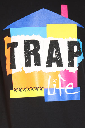 Men's Trap House Life Colorful Tee - Black