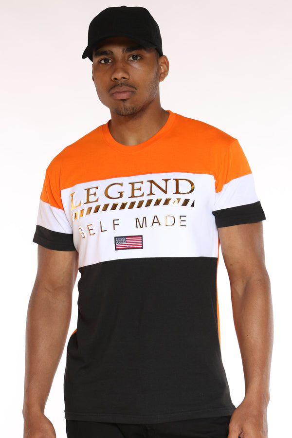 Men's Legend Self Made Color Block Tee - Orange White Charcoal-VIM.COM