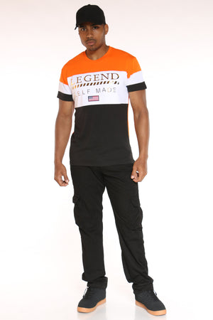Men's Legend Self Made Color Block Tee - Orange White Charcoal