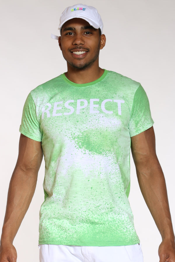 Men's Respect Tie Dye Look Tee - Neon Green-VIM.COM
