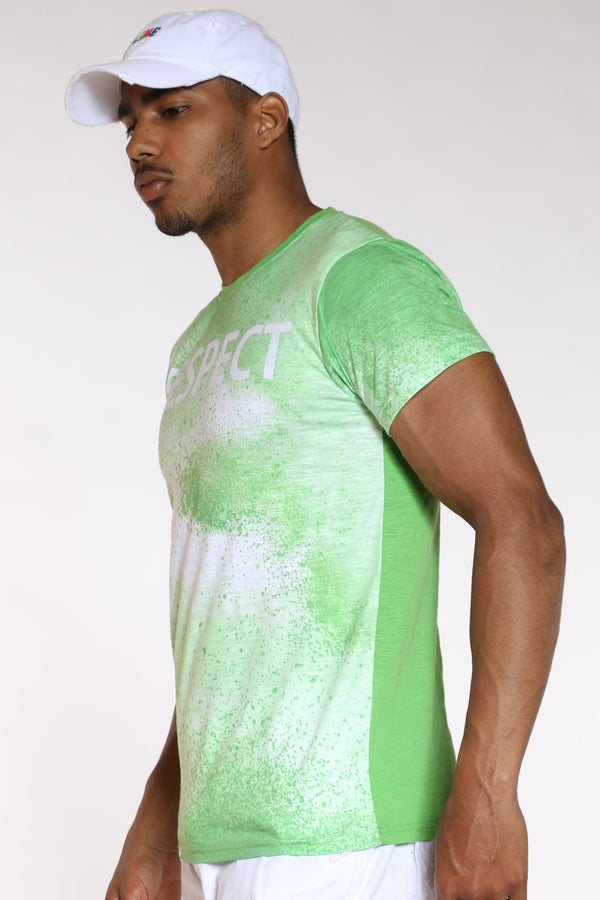 Men's Respect Tie Dye Look Tee - Neon Green