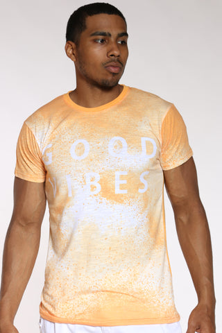 Men's Good Vibes Tie Dye Look Tee - Gold