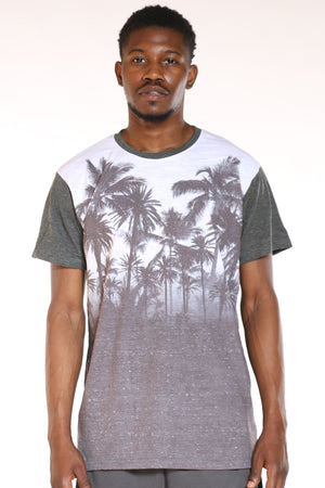 Men's Palm Trees Ombre Tee - Charcoal White-VIM.COM