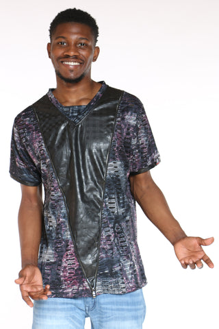 Men's Marled Front Zip Tee - Purple-VIM.COM