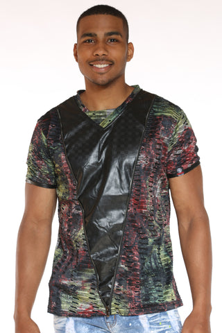 Men's Marled Front Zip Tee - Red-VIM.COM