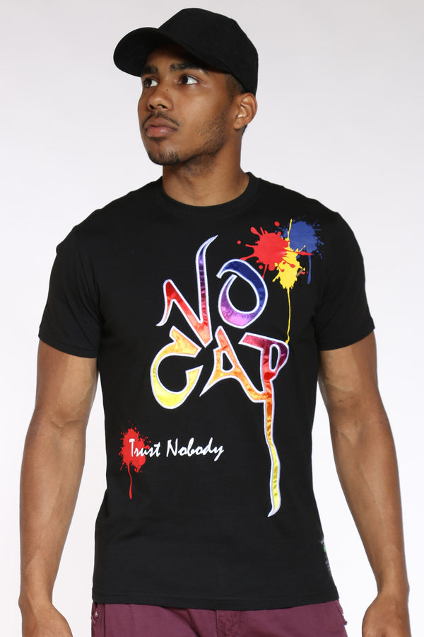 Men's No Cap Paint Drip Tee - Black-VIM.COM