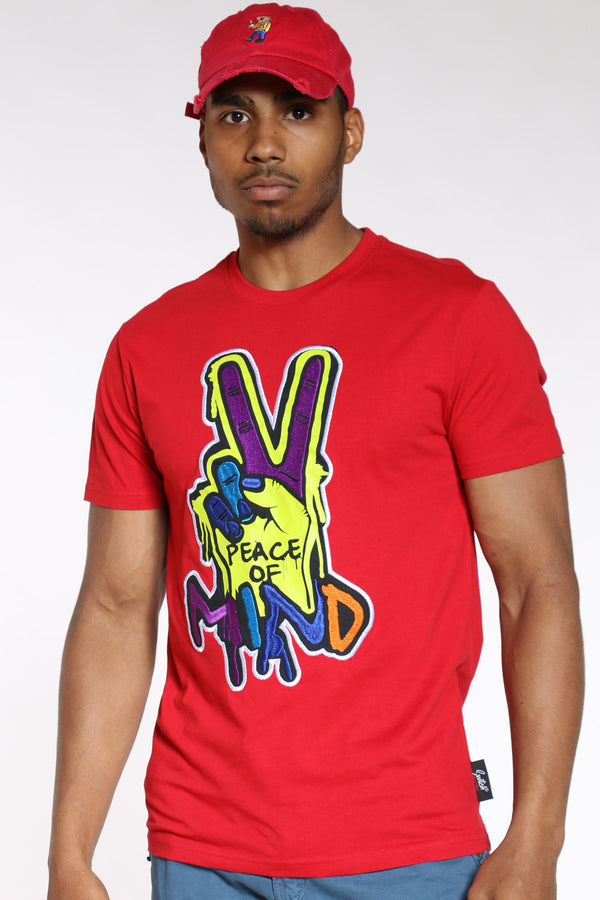 Men's Peace Of Mind Colorful Tee - Red-VIM.COM