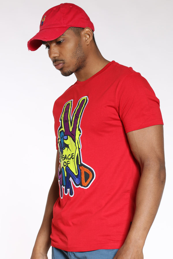 Men's Peace Of Mind Colorful Tee - Red