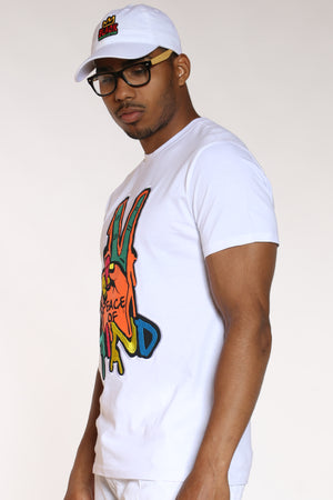 Men's Peace Of Mind Colorful Tee - White