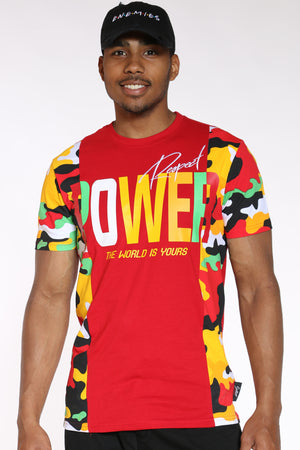 Men's Power Camo Side Panel Tee - Red-VIM.COM