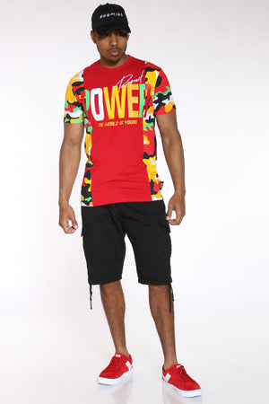 Men's Power Camo Side Panel Tee - Red