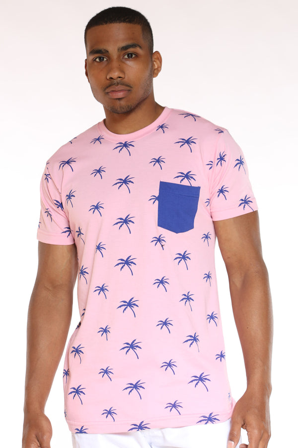 Men's Palm Tree Print Tee - Pink Royal-VIM.COM