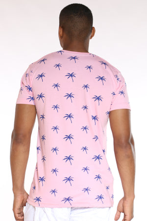 Men's Palm Tree Print Tee - Pink Royal