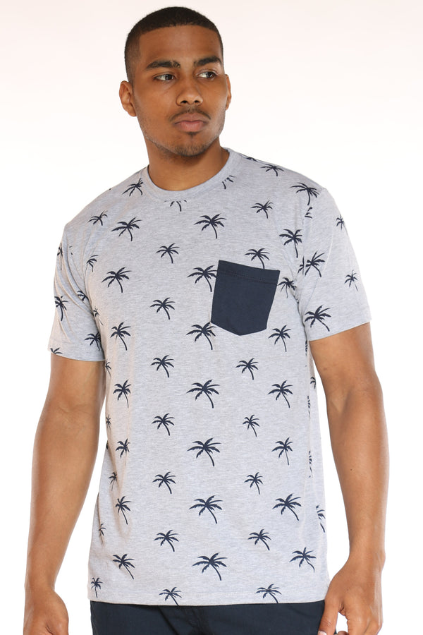 Men's Palm Tree Print Tee - Heather Grey Navy-VIM.COM