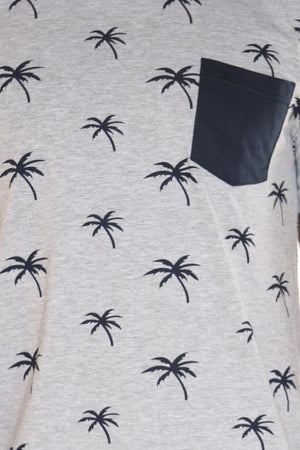 Men's Palm Tree Print Tee - Heather Grey Navy