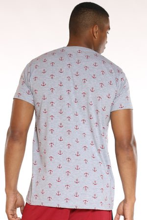 Men's Anchor Print Tee - Heather Grey Red
