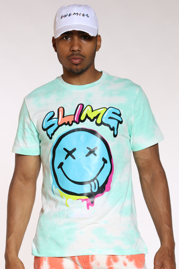 Men's Smiley Slime Tie Dye Tee - Mint-VIM.COM