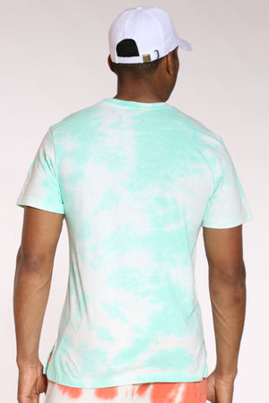 Men's Smiley Slime Tie Dye Tee - Mint