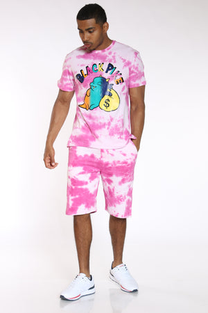 Men's Black Pike Money Character Tee - Fuschia