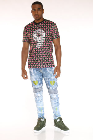 Men's 9 Print Dri Fit Tee - Coral