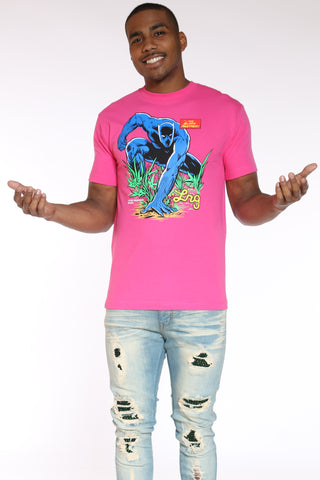 Men's Black Panther Tee - Hot Pink-VIM.COM