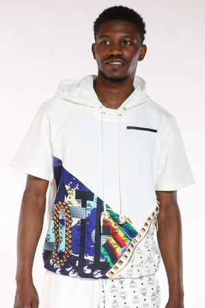 Men's Cut & Sow French Terry Hooded Tee - White-VIM.COM